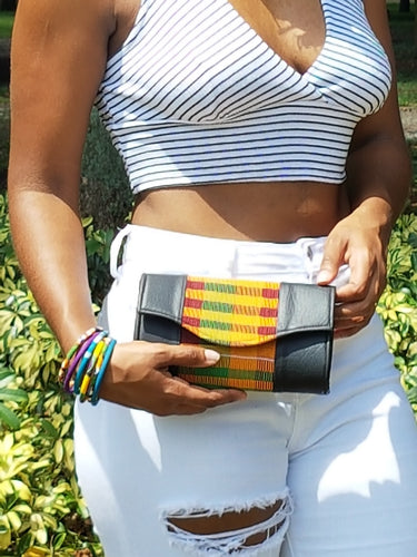 Faux Leather Kente Cloth Clutch