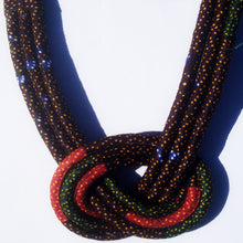 MultiRope Middle Knot Necklace Brown Red and Green