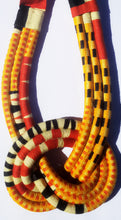 MultiRope Middle Knot Necklace Yellow with Red Neutral Colors
