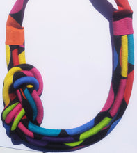 MultiRope Side Knot Necklace Bright Colors with Black