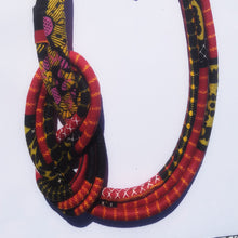 MultiRope Side Knot Necklace Red with Multi Colors