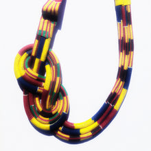 MultiRope Side Knot Necklace Yellow with Bright Color Accents