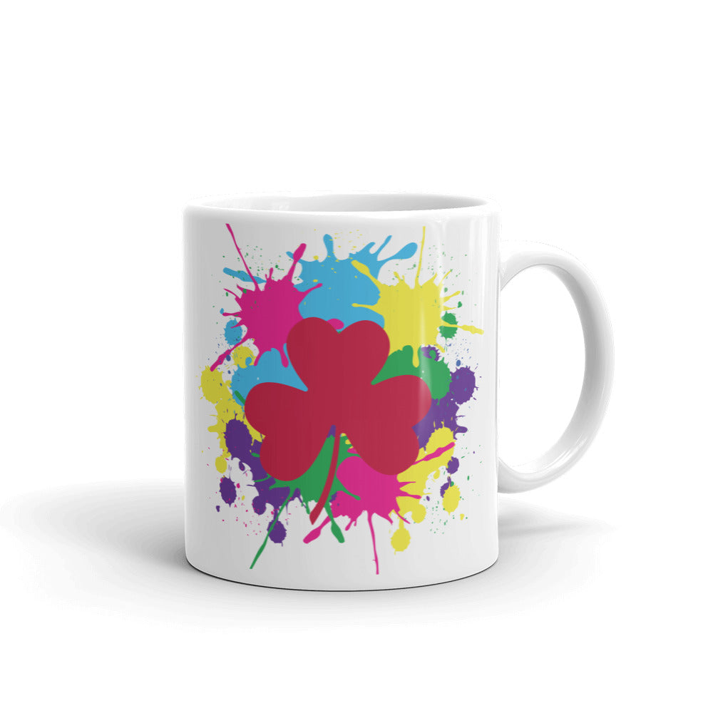 Pink Clover Paint Splat Coffee Mug by Diver+