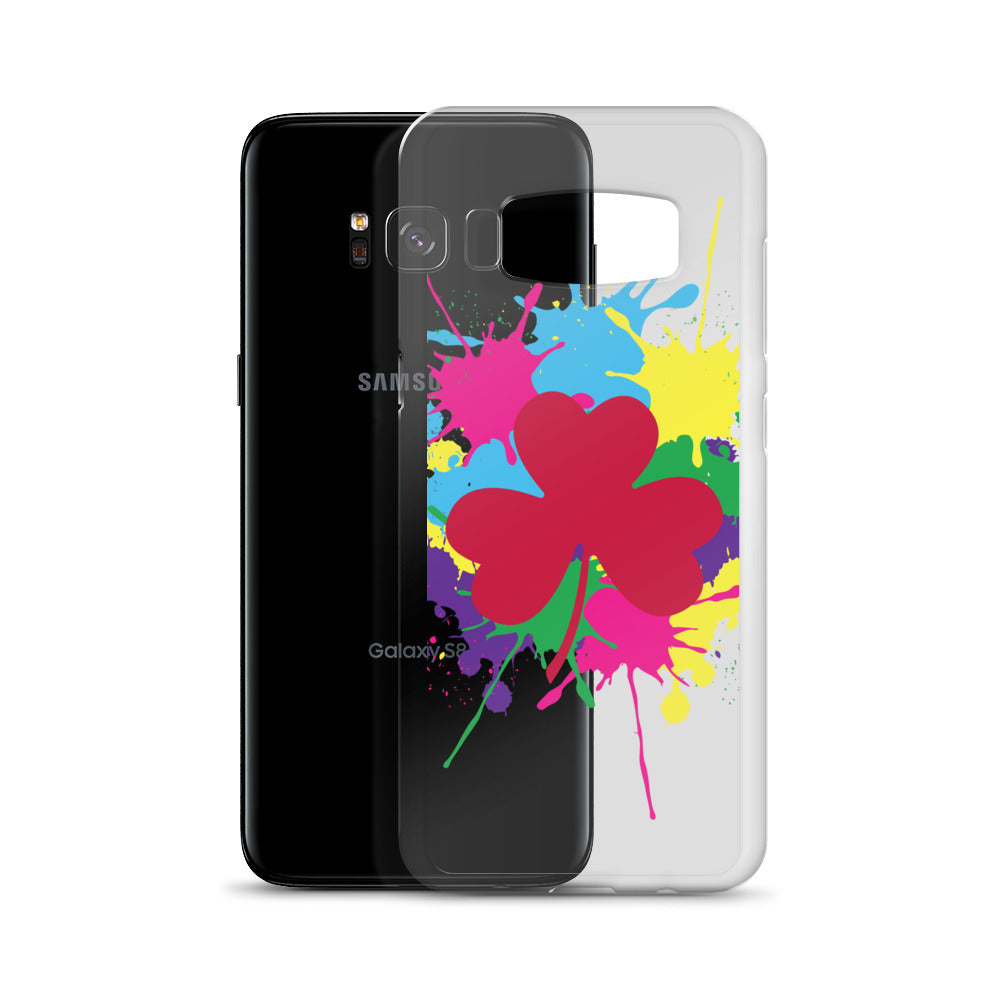 Pink Clover Paint Splat Samsung Case by Diver+