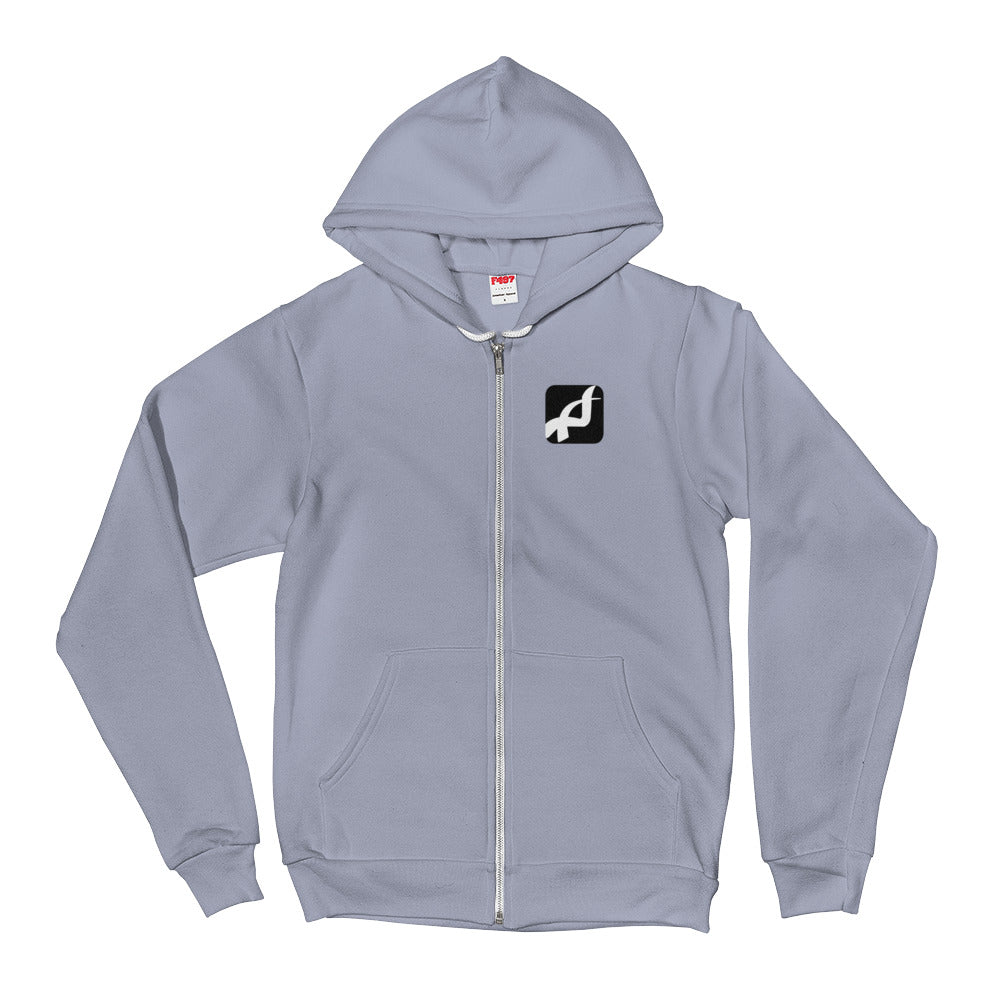Hoodie sweater - white logo with black border