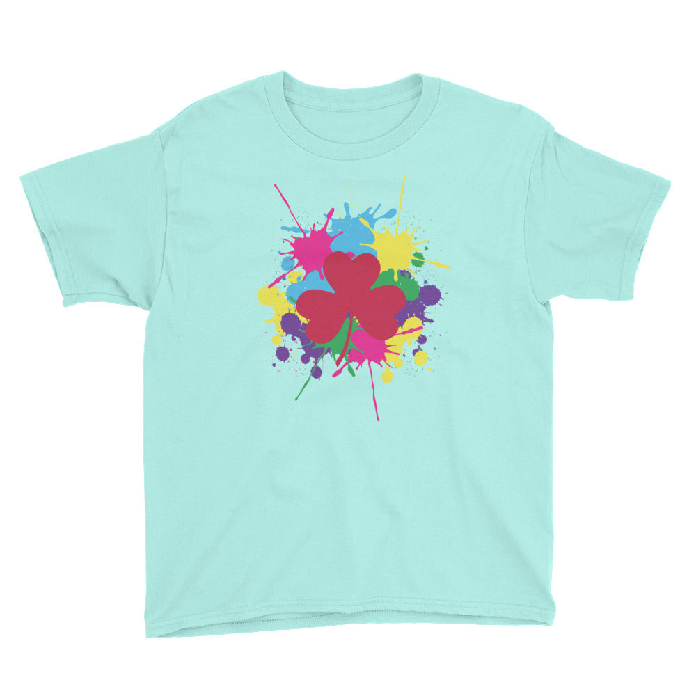 Pink Clover Paint Splat Kids T-Shirt by Diver+