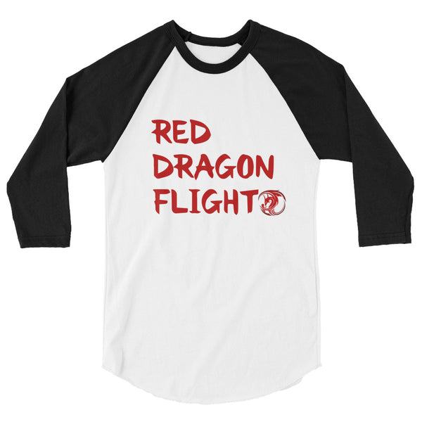 Red Dragon Flight 3/4 sleeve raglan shirt by Alliestrasza