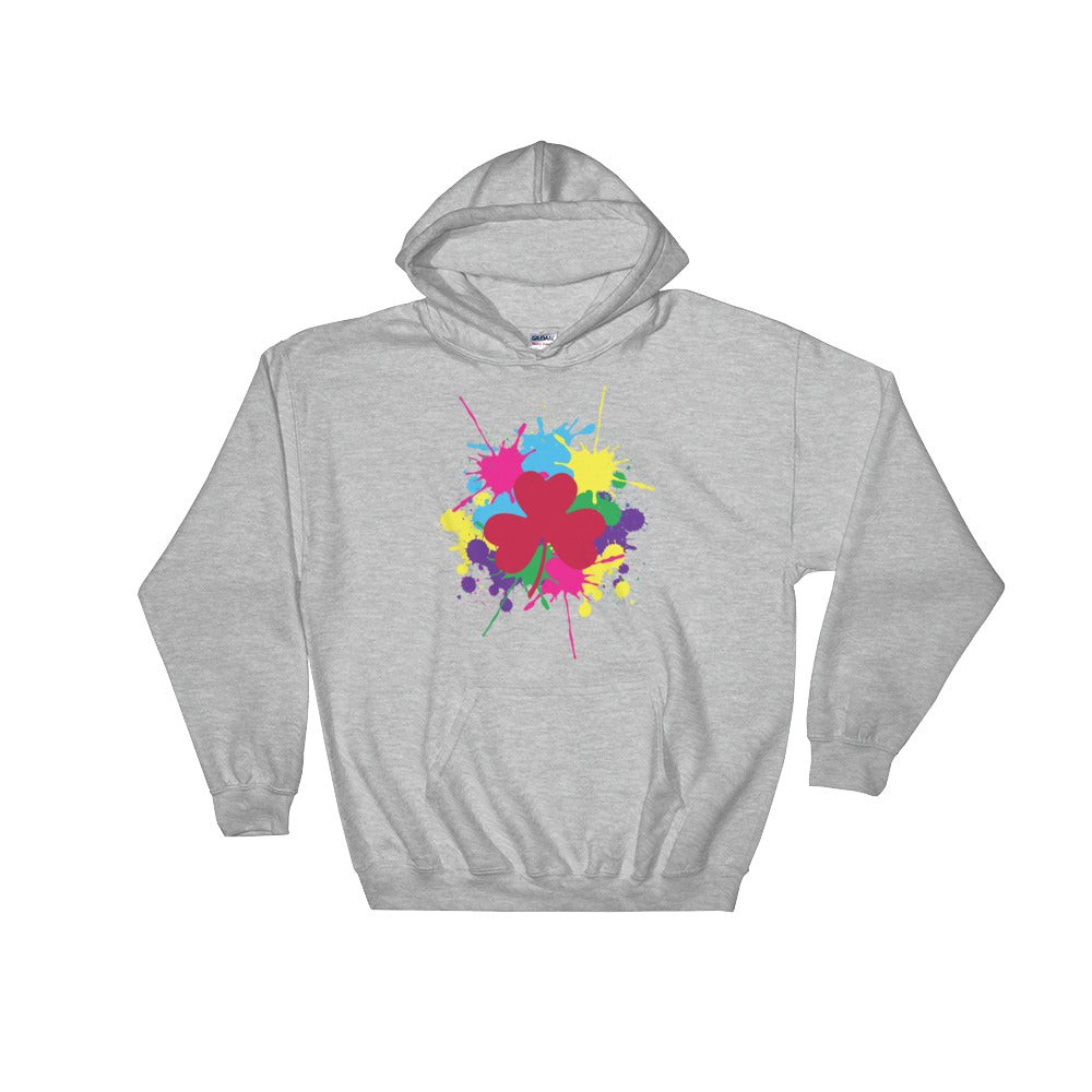 Pink Clover Paint Splat Hooded Sweatshirt by Diver+