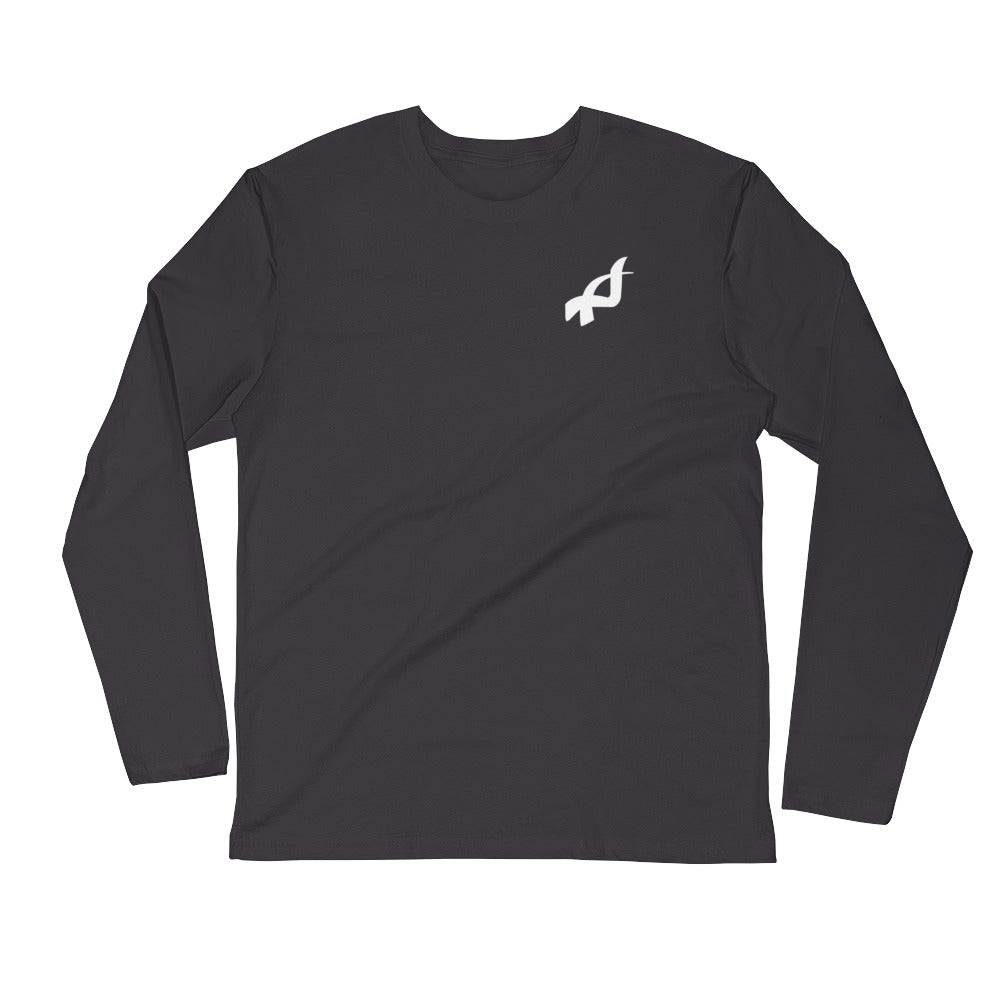 Long Sleeve Fitted Crew - white logo with no black border