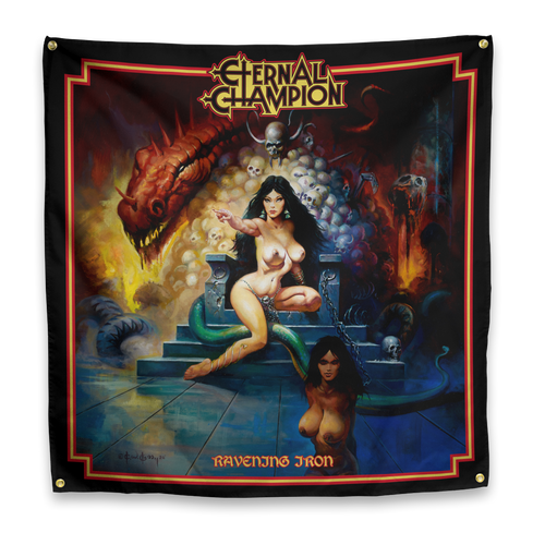 "Buy – Eternal Champion ""Ravening Iron"" Flag – Band & Music Merch – Massacre Merch"