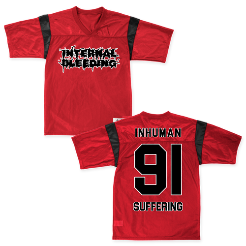 "Buy – Internal Bleeding ""Inhuman 91"" Football Jersey – Band & Music Merch – Massacre Merch"