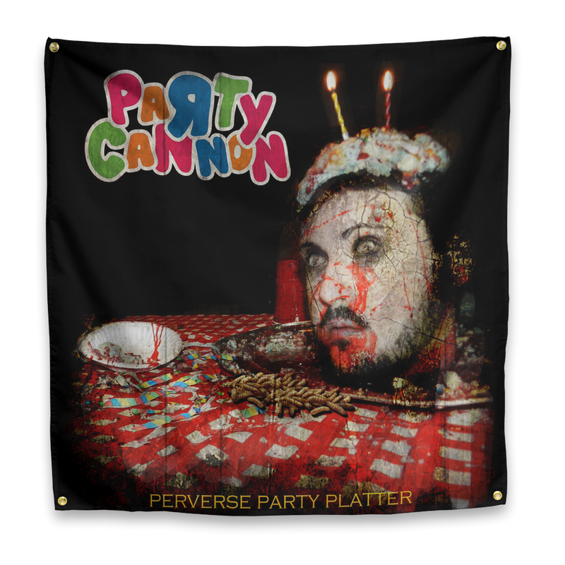 "Buy – Party Cannon ""Perverse Party Platters"" Flag – Band & Music Merch – Massacre Merch"