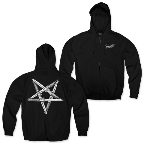 "Perturbator ""Pentaknife Shape"" Zip-Up Hoodie"