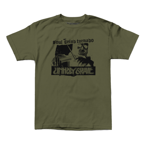 "Unholy Grave ""Soul Grind Tornado"" Military Green Shirt"