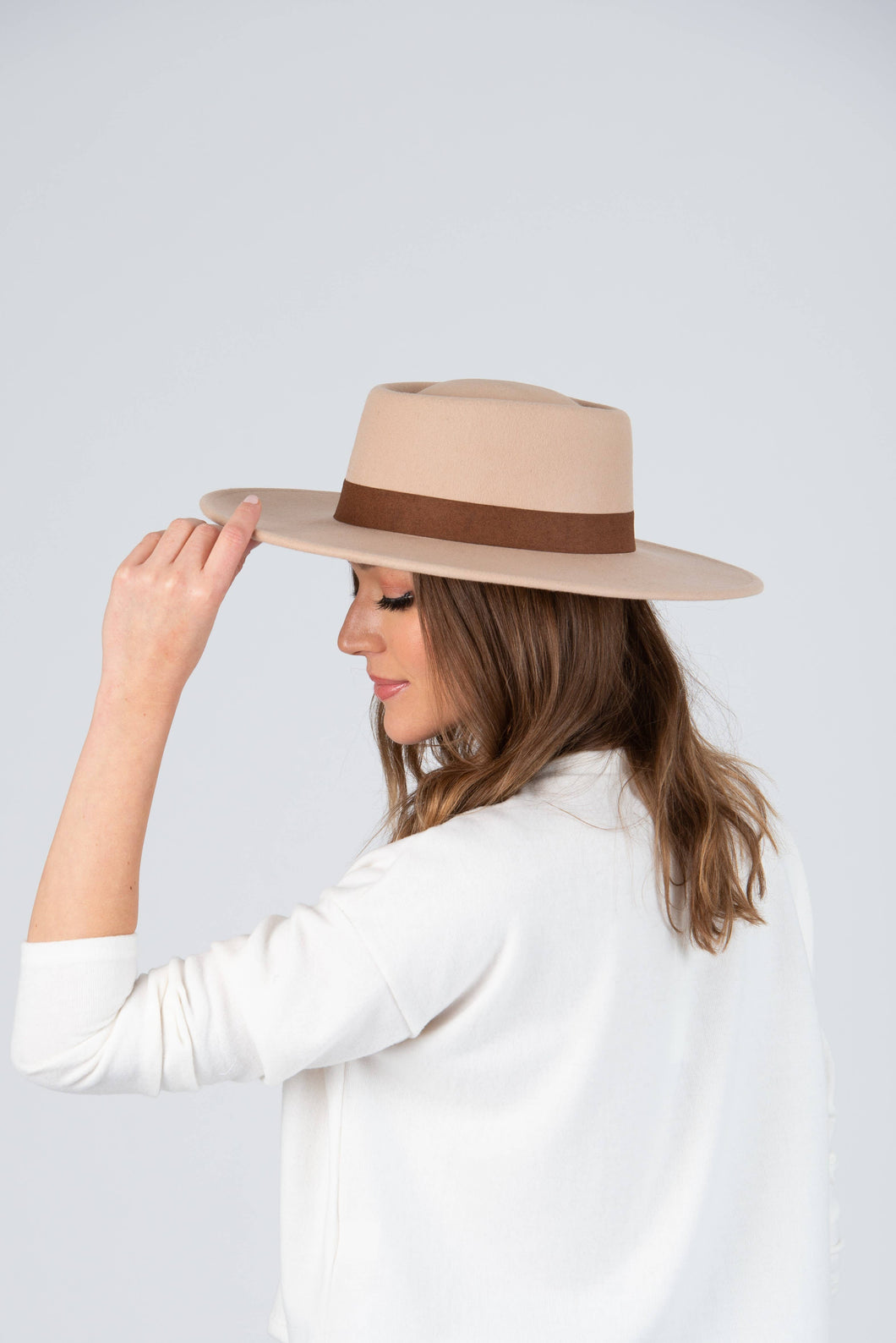 Creme Wool Boater Hat