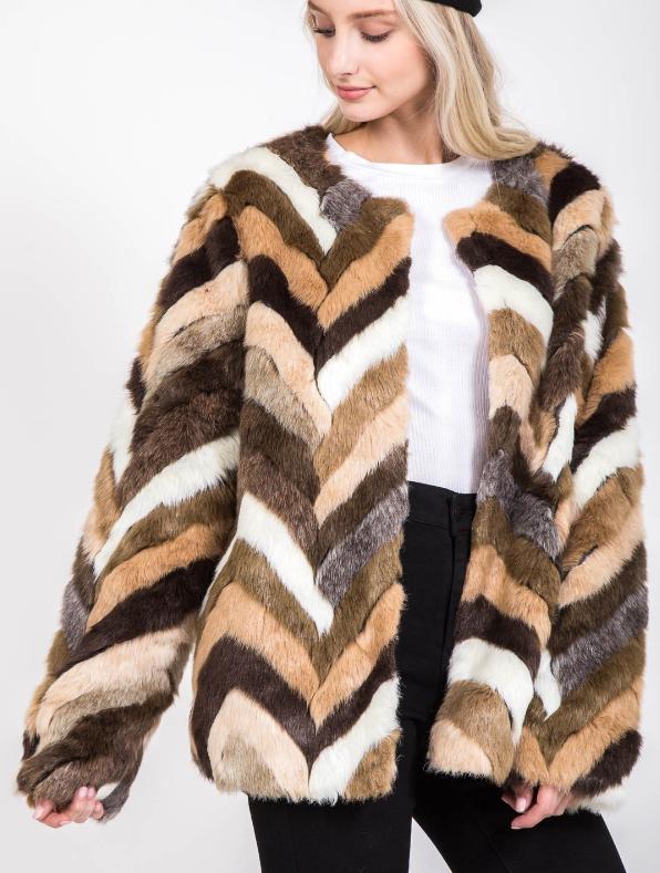 Vintage Faux Fur Chevron Coat