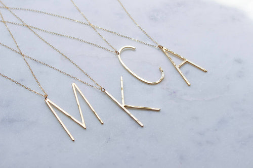 Gold Large Initial Necklace