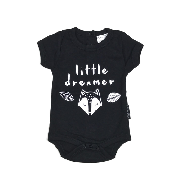 Little Dreamer Black Organic Bodysuit Onesie - Little Branches Boutique