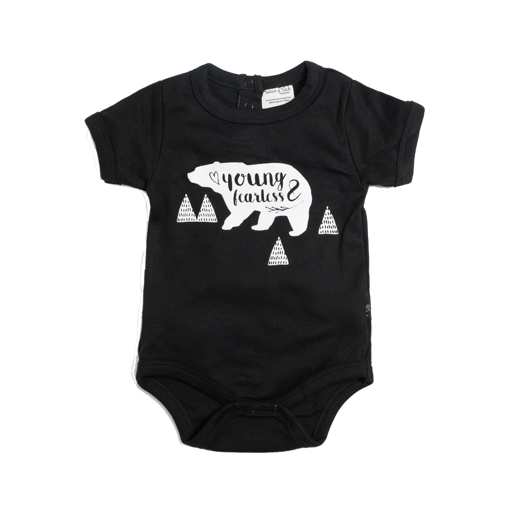 Young & Fearless Black Organic Onesie - Little Branches Boutique