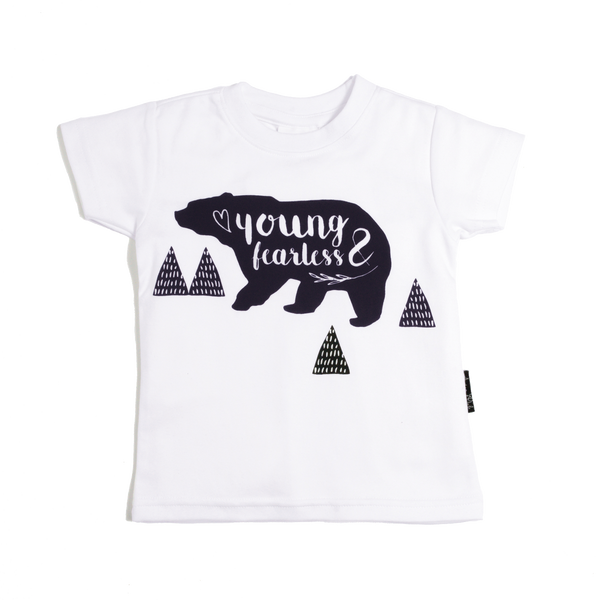 Young & Fearless Organic Cotton Tee White - Little Branches Boutique