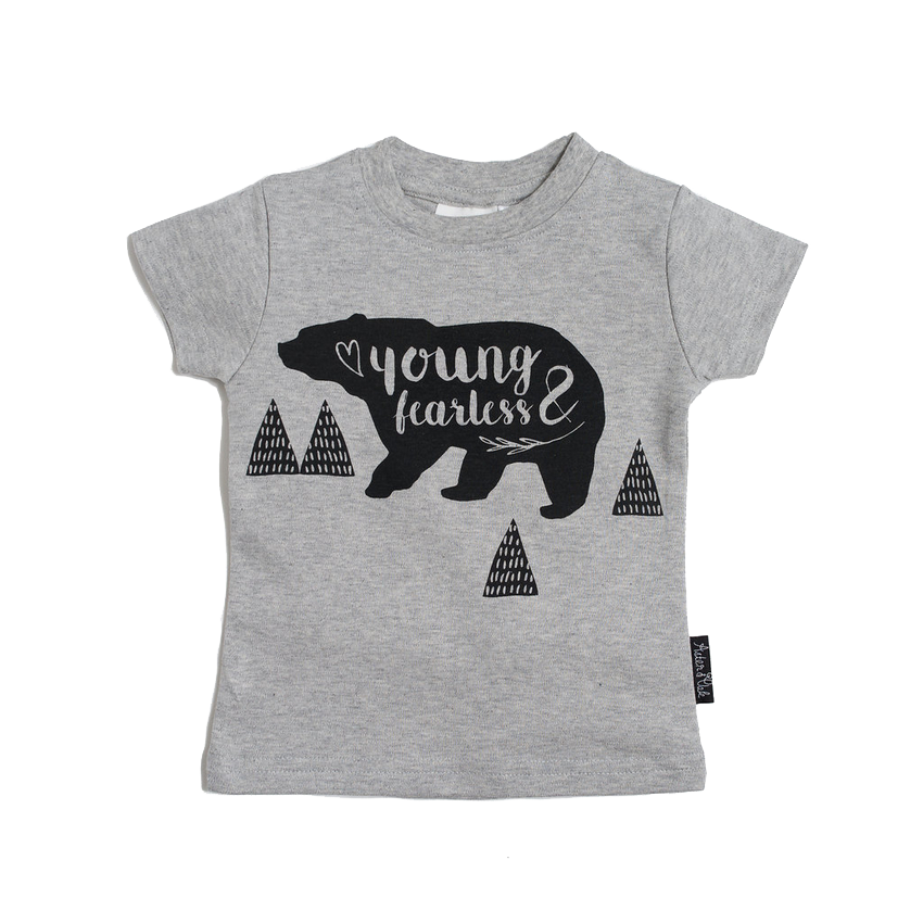 Young & Fearless Organic Cotton Tee Grey Marle - Little Branches Boutique