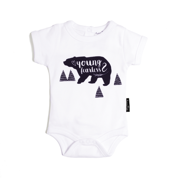 Young & Fearless White Organic Onesie - Little Branches Boutique