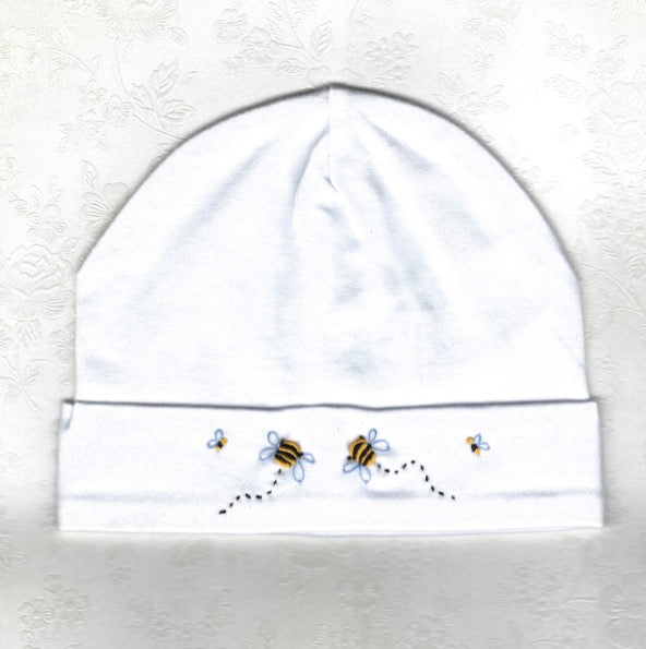 Hand Embroidered White Bee Beanie - Little Branches Boutique