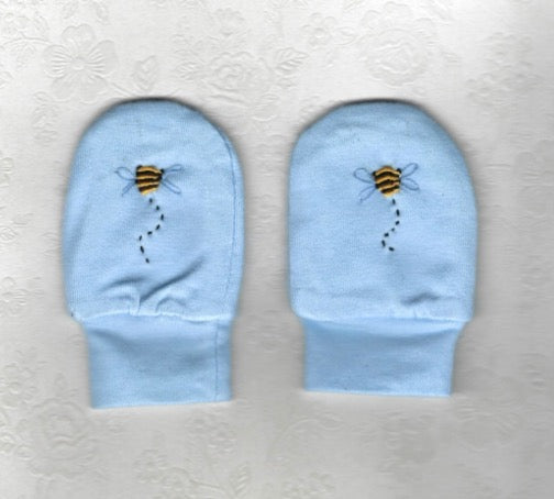 Hand Embroidered Blue Bee Mittens - Little Branches Boutique