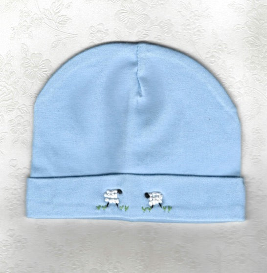 Blue Embroidered Sheep Beanie - Little Branches Boutique