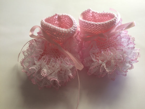 Newborn Knitted Pink With White Pink Lace Booties - Little Branches Boutique