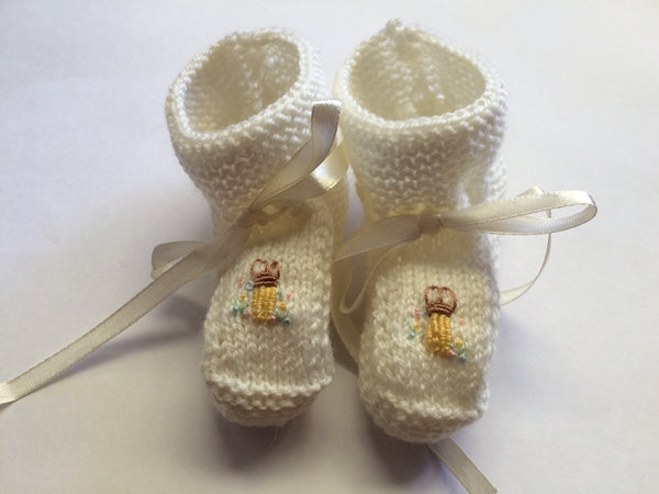 Embroidered Bunny Booties - Little Branches Boutique