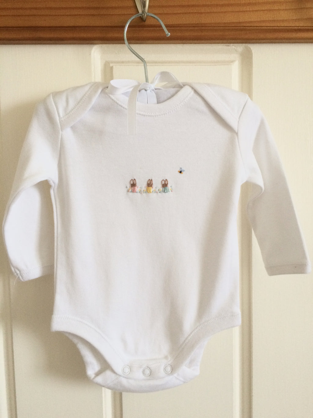 Hand Embroidered Long Sleeve Rabbit Onesie - Little Branches Boutique