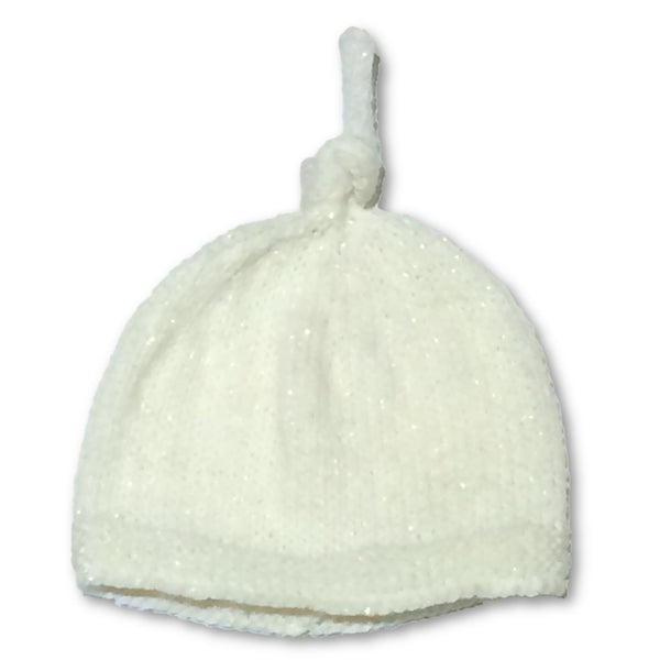 Hand Knitted Cream Top Knot Beanie - Little Branches Boutique