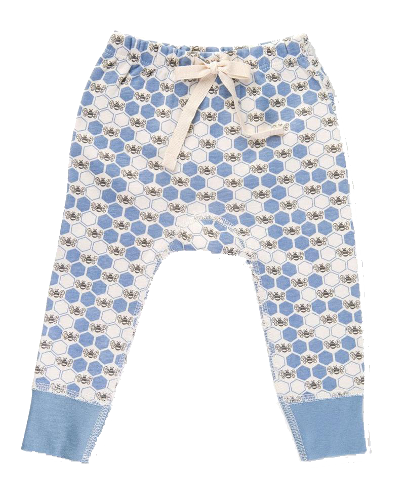 Cornflower Blue Bees Pants - Little Branches Boutique