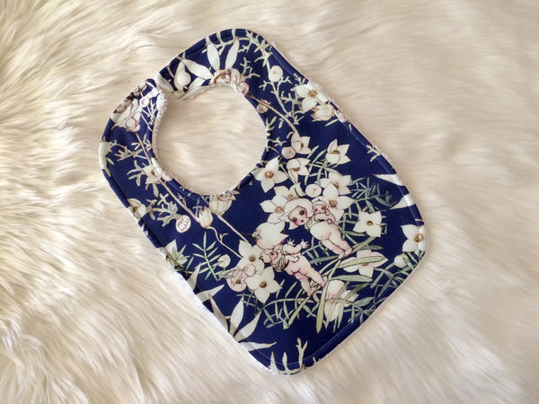 Dark Blue Flannel Babies Baby Bib
