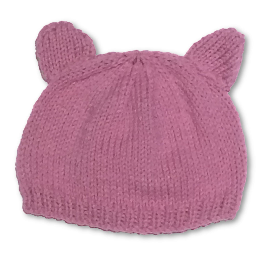 Hand Knitted Dusky Pink Bear Beanie - Little Branches Boutique