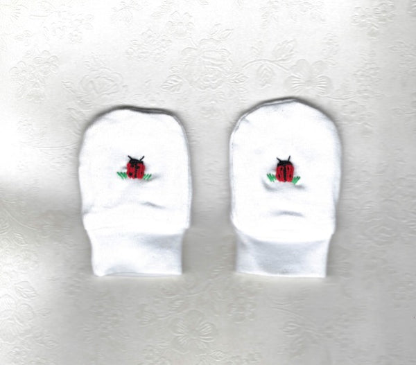 Hand Embroidered White Lady Bug Mittens - Little Branches Boutique