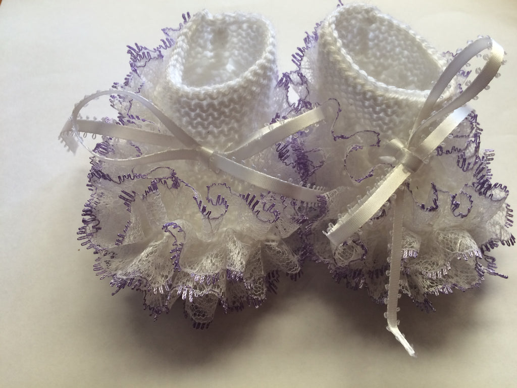 Newborn Knitted White With Purple Lace Booties - Little Branches Boutique