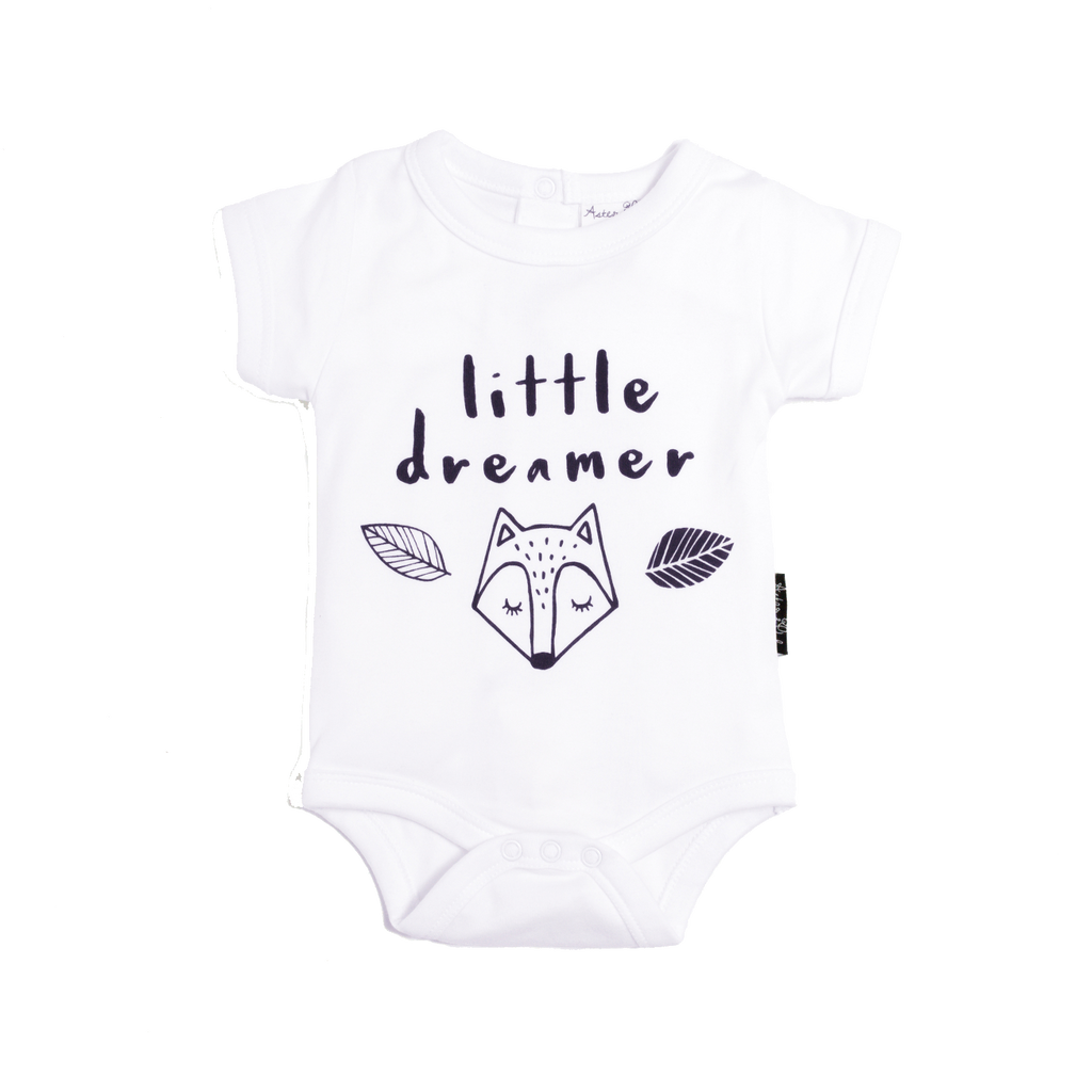 Little Dreamer White Organic Bodysuit Onesie - Little Branches Boutique