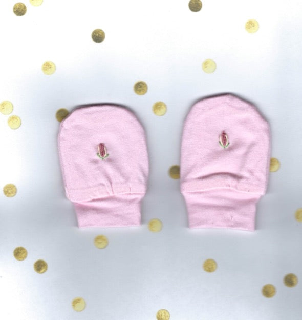 Hand Embroidered Pink Rose Mittens - Little Branches Boutique
