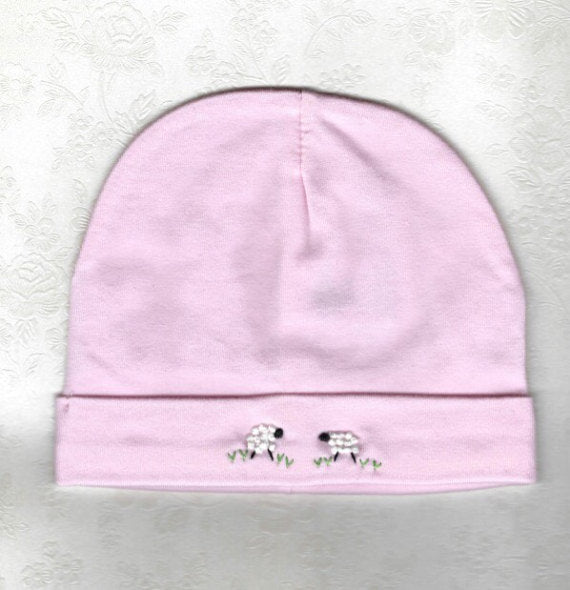 Hand Embroidered Pink Sheep Embroidered Beanie - Little Branches Boutique