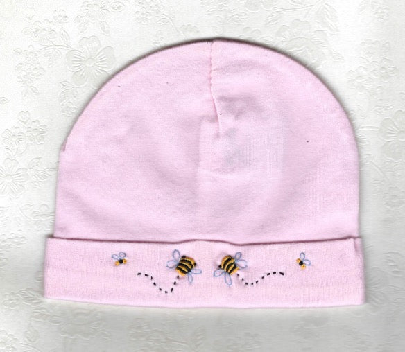 Hand Embroidered Pink Bee Beanie - Little Branches Boutique