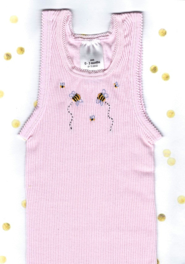 Hand Embroidered Pink Bee Singlet - Little Branches Boutique