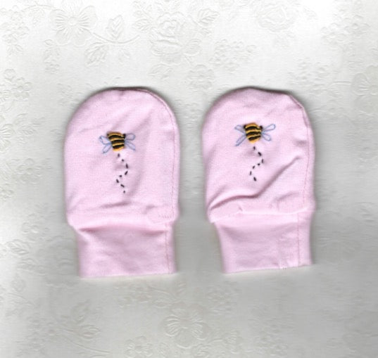 Hand Embroidered Pink Bee Mittens - Little Branches Boutique