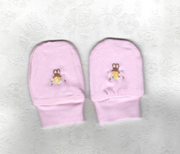 Hand Embroidered Pink Rabbit Mittens - Little Branches Boutique