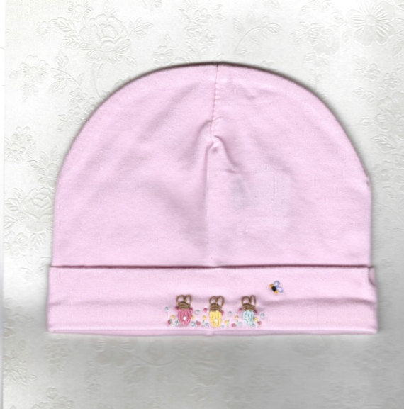 Hand Embroidered Pink Rabbit Beanie - Little Branches Boutique