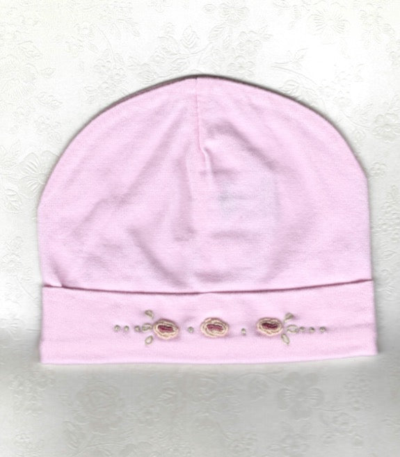 Hand Embroidered Pink Rose Beanie - Little Branches Boutique