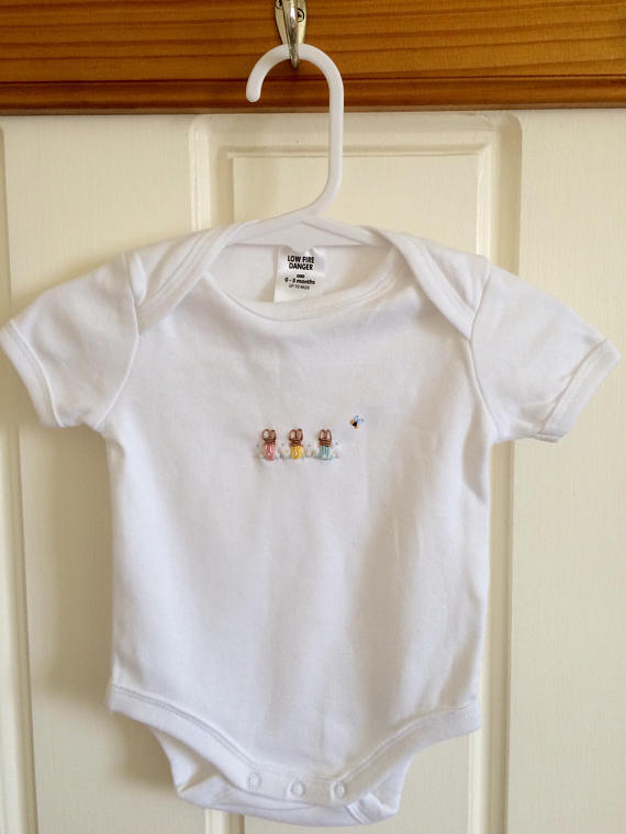 Hand Embroidered Short Sleeve Rabbit Onesie - Little Branches Boutique