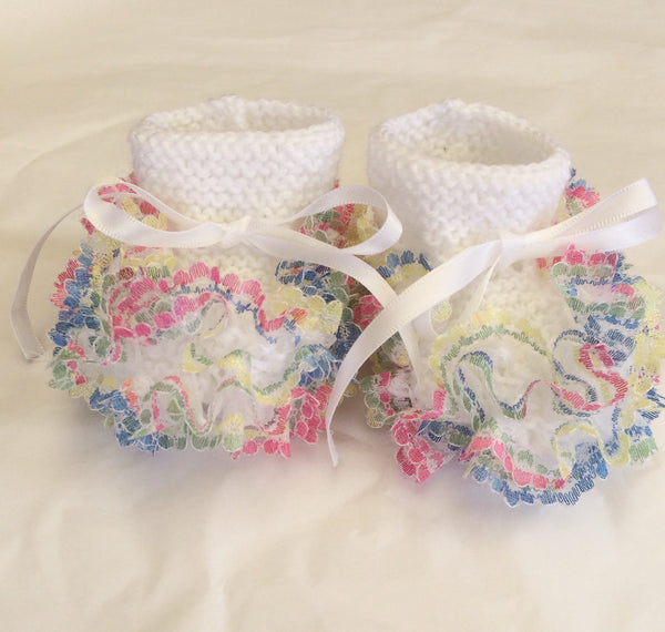 Hand Knitted Rainbow Newborn Booties - Little Branches Boutique