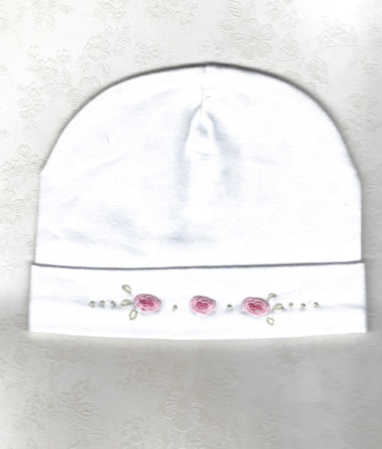 Hand Embroidered White Rose Beanie - Little Branches Boutique